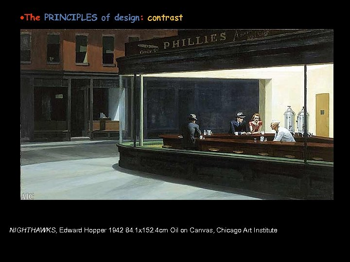 Edward Hopper American, 1882 -1967 ·The PRINCIPLES of design: contrast Or FOCUS in an