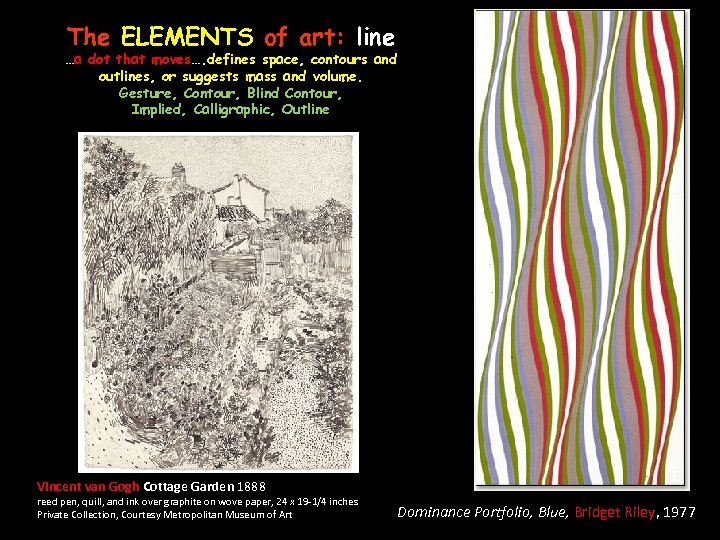 The ELEMENTS of art: line …a dot that moves…. defines space, contours and outlines,
