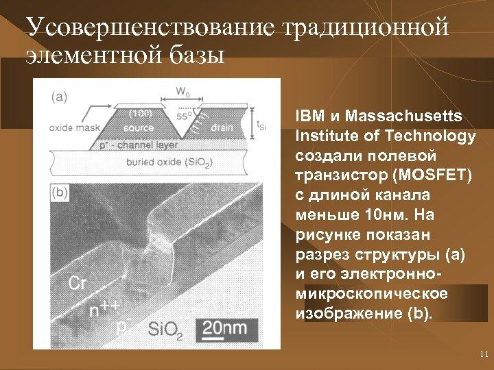 Усовершенствование традиционной элементной базы IBM и Massachusetts Institute of Technology создали полевой транзистор (MOSFET)