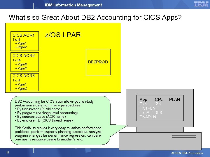 IBM Information Management What's so Great About DB 2 Accounting for CICS Apps? CICS