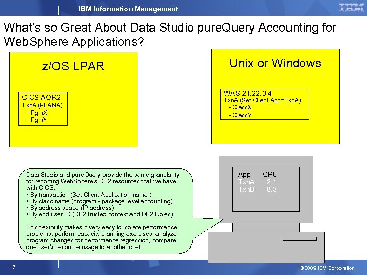 IBM Information Management What's so Great About Data Studio pure. Query Accounting for Web.