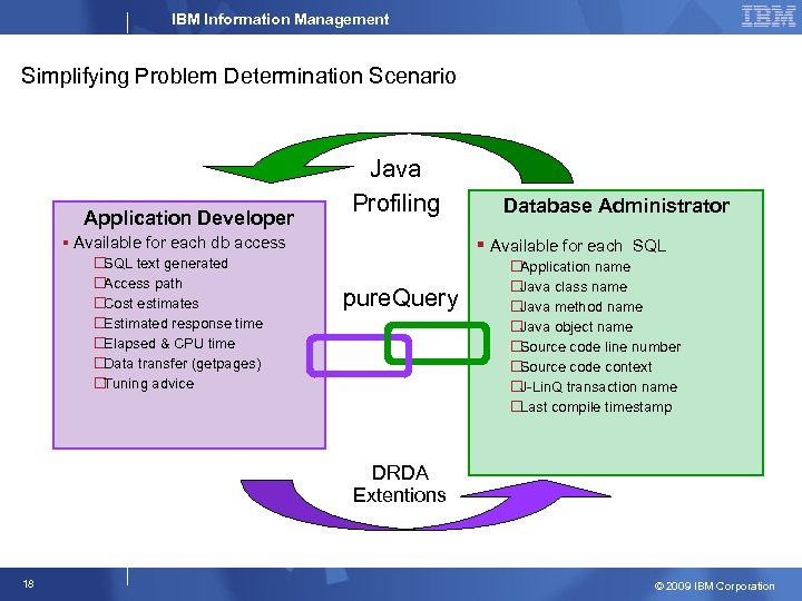 IBM Information Management Simplifying Problem Determination Scenario Application Developer Java Profiling § Available for