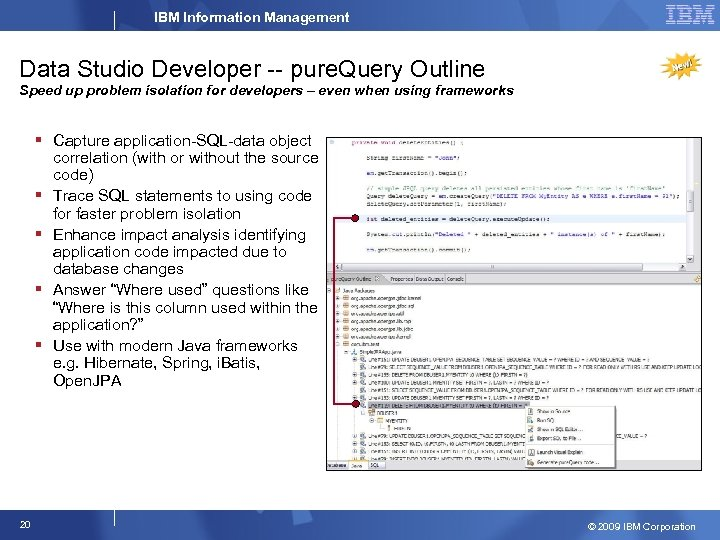 IBM Information Management Data Studio Developer -- pure. Query Outline Speed up problem isolation