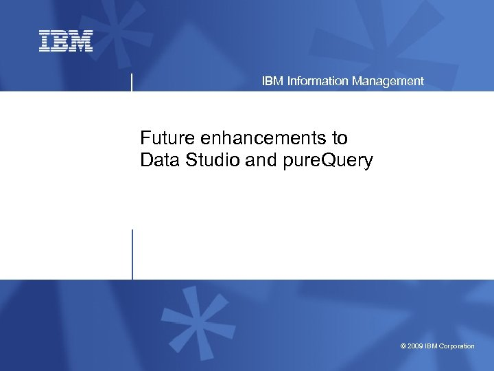 IBM Information Management Future enhancements to Data Studio and pure. Query © 2009 IBM