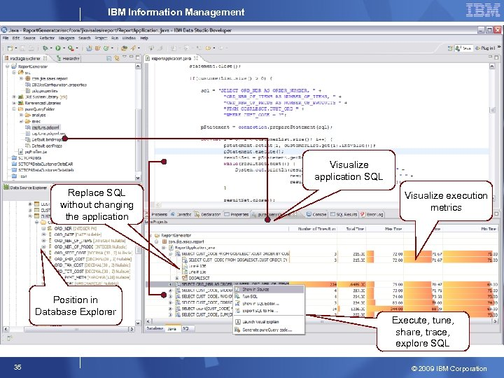 IBM Information Management Visualize application SQL Replace SQL without changing the application Position in