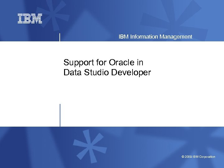 IBM Information Management Support for Oracle in Data Studio Developer © 2009 IBM Corporation