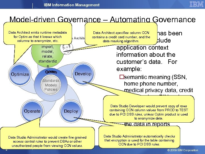 IBM Information Management Model-driven Governance – Automating Governance Policies Data Architect emits runtime metadata