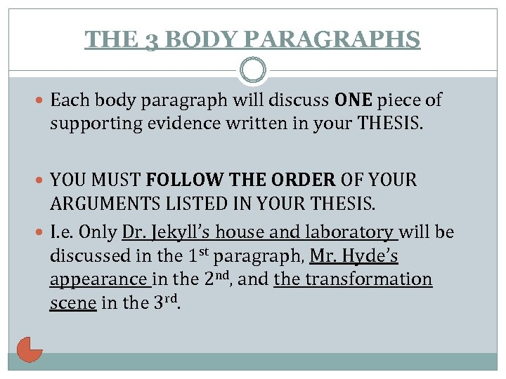 THE 3 BODY PARAGRAPHS Each body paragraph will discuss ONE piece of supporting evidence