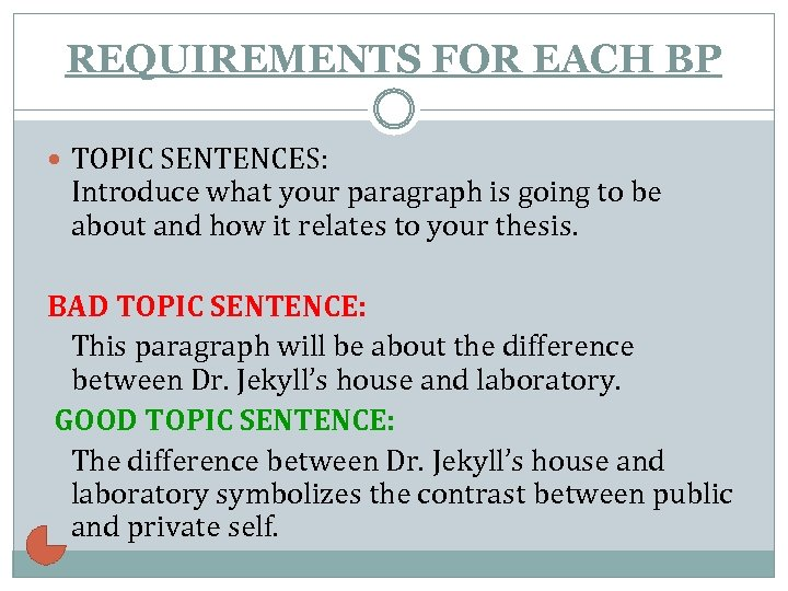 REQUIREMENTS FOR EACH BP TOPIC SENTENCES: Introduce what your paragraph is going to be