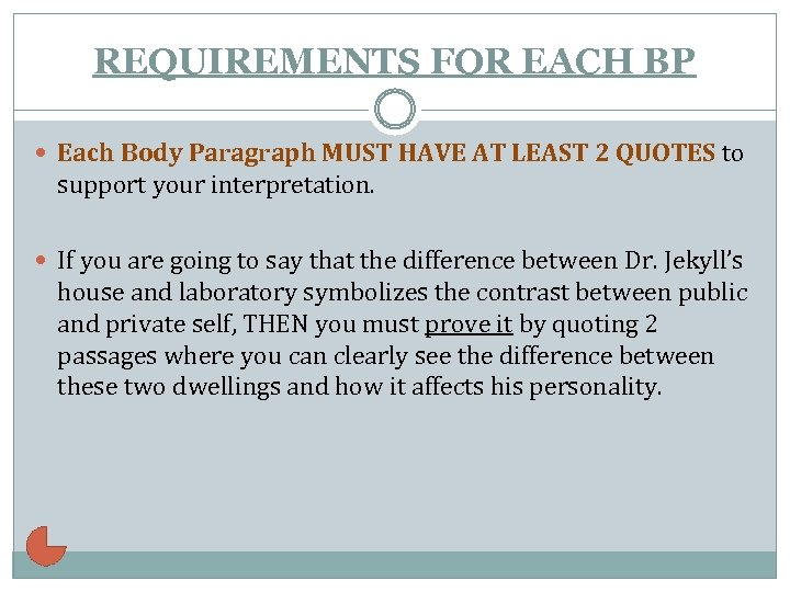 REQUIREMENTS FOR EACH BP Each Body Paragraph MUST HAVE AT LEAST 2 QUOTES to