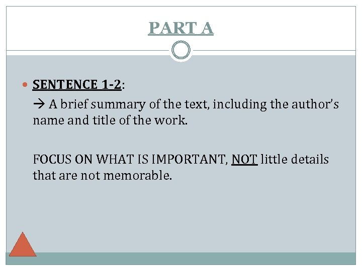 PART A SENTENCE 1 -2: A brief summary of the text, including the author's