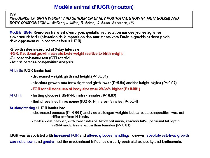 Modèle animal d'IUGR (mouton) 239 INFLUENCE OF BIRTH WEIGHT AND GENDER ON EARLY POSTNATAL