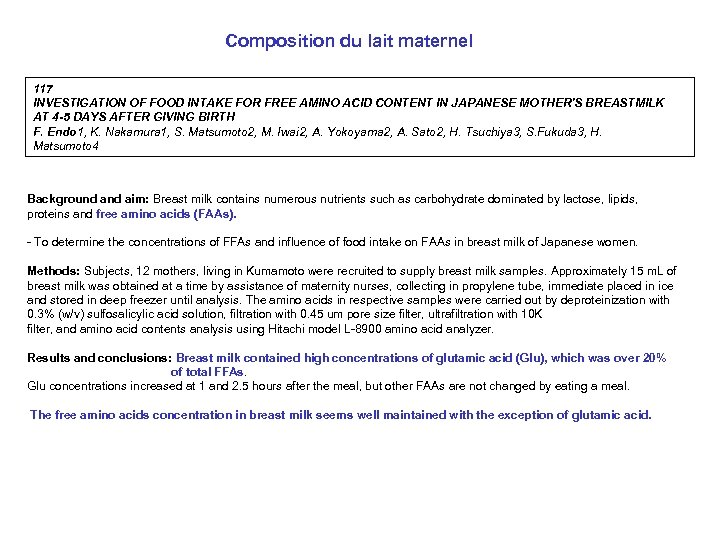 Composition du lait maternel 117 INVESTIGATION OF FOOD INTAKE FOR FREE AMINO ACID CONTENT