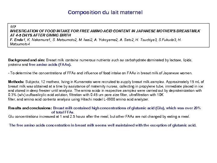 Composition du lait maternel 117 INVESTIGATION OF FOOD INTAKE FOR FREE AMINO ACID CONTENT