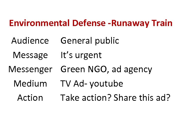 Environmental Defense -Runaway Train Audience Message Messenger Medium Action General public It's urgent Green