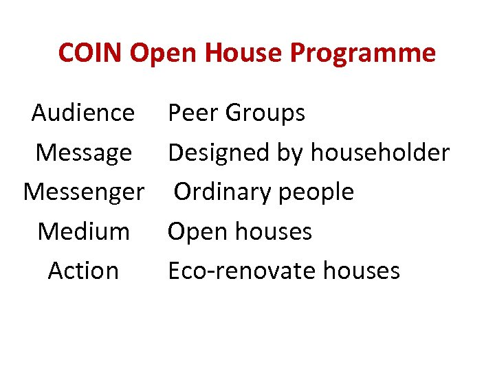 COIN Open House Programme Audience Message Messenger Medium Action Peer Groups Designed by householder