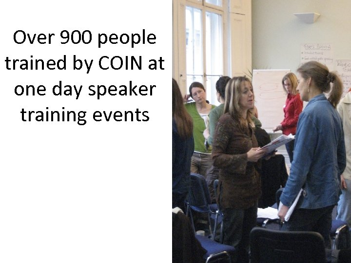 Over 900 people trained by COIN at one day speaker training events