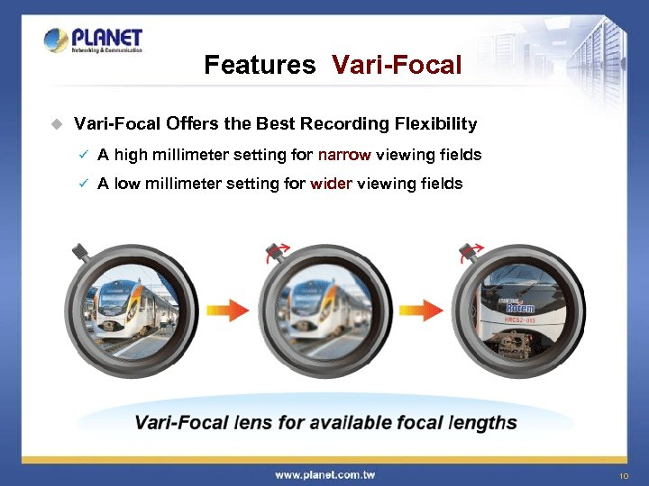 Features Vari-Focal u Vari-Focal Offers the Best Recording Flexibility ü A high millimeter setting