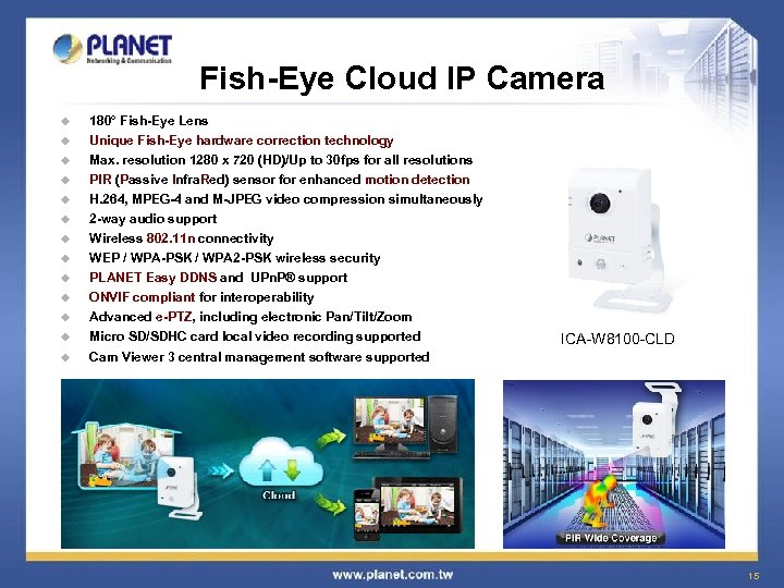 Fish-Eye Cloud IP Camera u u 180° Fish-Eye Lens Unique Fish-Eye hardware correction technology