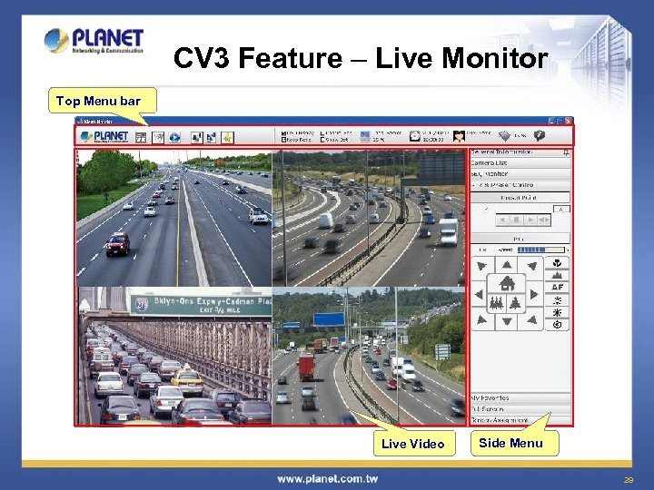 CV 3 Feature – Live Monitor Top Menu bar Live Video Side Menu 29