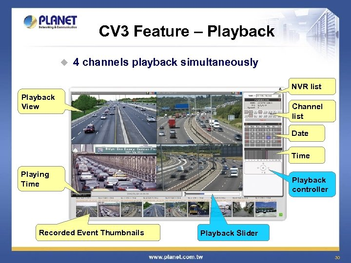 CV 3 Feature – Playback u 4 channels playback simultaneously NVR list Playback View