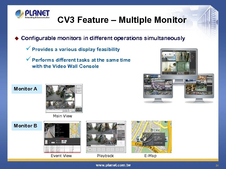 CV 3 Feature – Multiple Monitor u Configurable monitors in different operations simultaneously ü