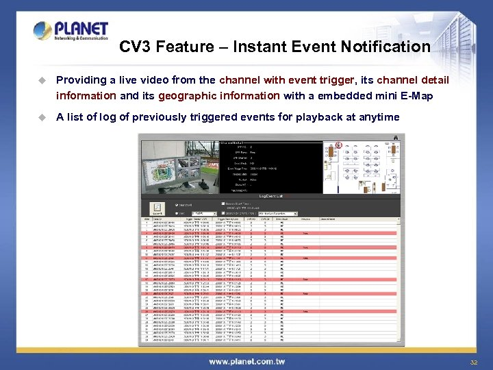 CV 3 Feature – Instant Event Notification u Providing a live video from the