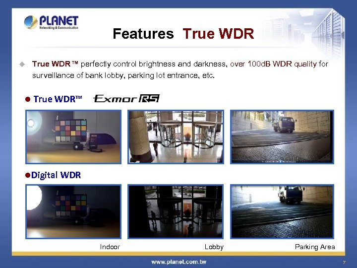 Features True WDR u l True WDR™ perfectly control brightness and darkness, over 100