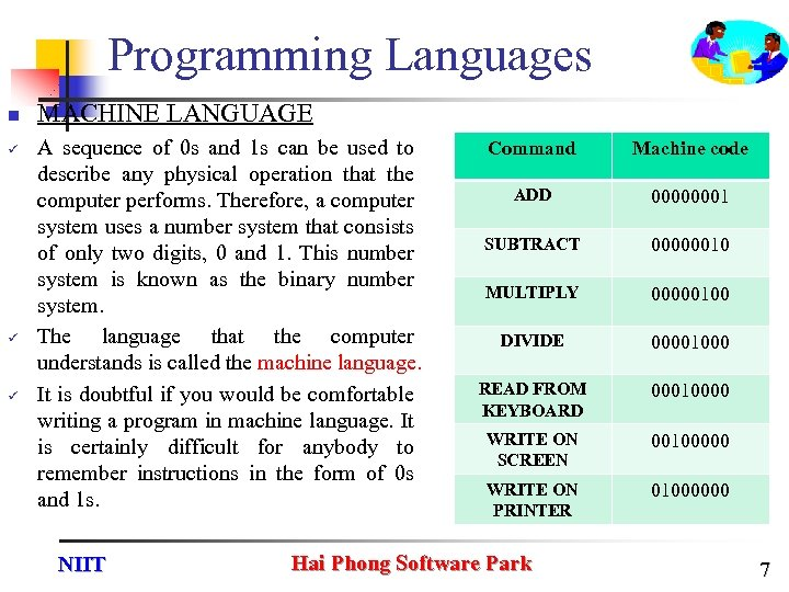 Programming Languages n ü ü ü MACHINE LANGUAGE A sequence of 0 s and
