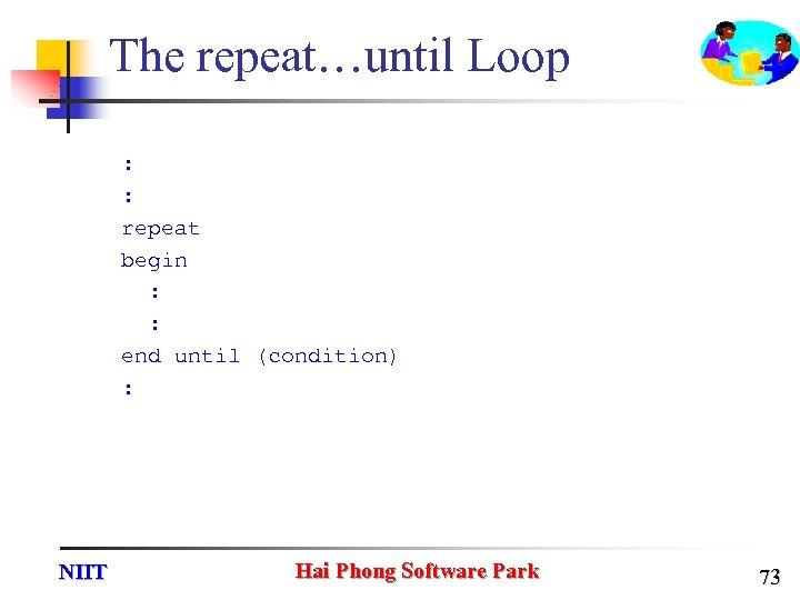 The repeat…until Loop : : repeat begin : : end until (condition) : NIIT