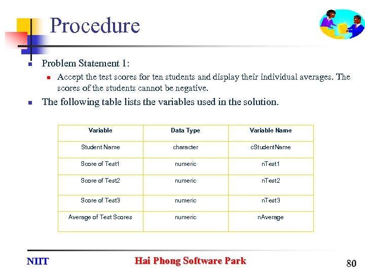 Procedure n Problem Statement 1: n n Accept the test scores for ten students