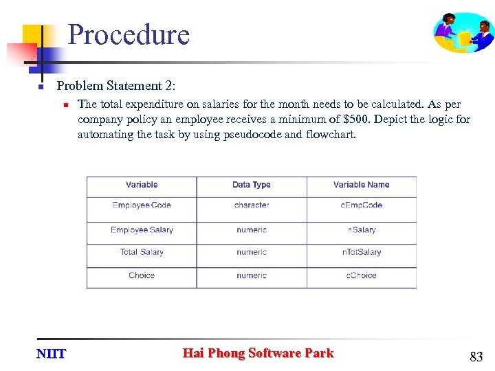 Procedure n Problem Statement 2: n NIIT The total expenditure on salaries for the
