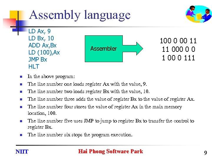 Assembly language LD Ax, 9 LD Bx, 10 ADD Ax, Bx LD (100), Ax