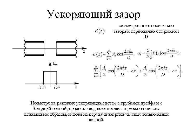 Ускоряющий зазор симметрично относительно зазора и периодично с периодом D Несмотря на различия ускоряющих