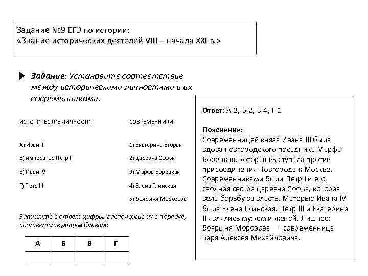 Задание № 9 ЕГЭ по истории: «Знание исторических деятелей VIII – начала XXI в.