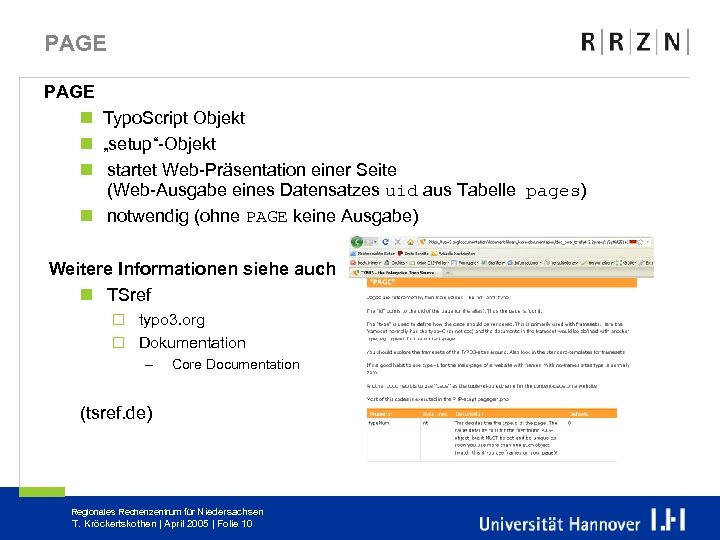 """PAGE n Typo. Script Objekt n """"setup""""-Objekt n startet Web-Präsentation einer Seite (Web-Ausgabe eines"""