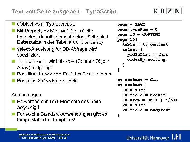 Text von Seite ausgeben – Typo. Script n c. Object vom Typ CONTENT n