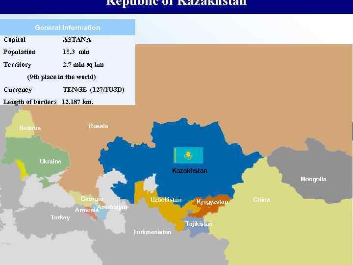 Republic of Kazakhstan General Information Capital ASTANA Population 15. 3 mln Territory 2. 7