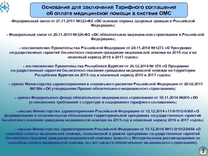 Основания для заключения Тарифного соглашения об оплате медицинской помощи в системе ОМС -Федеральный закон