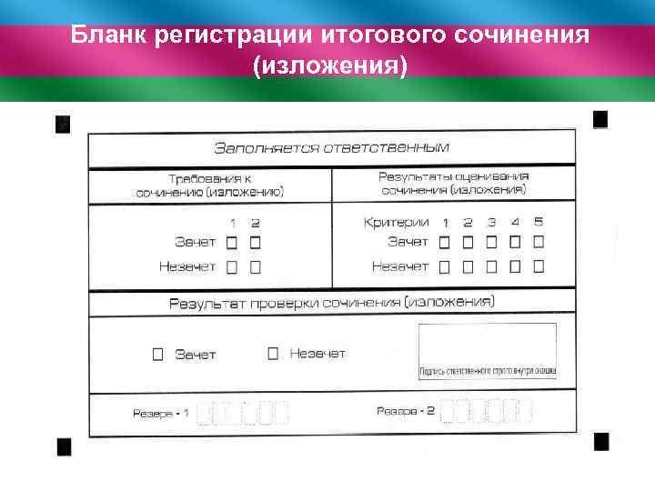 Бланк регистрации итогового сочинения (изложения)