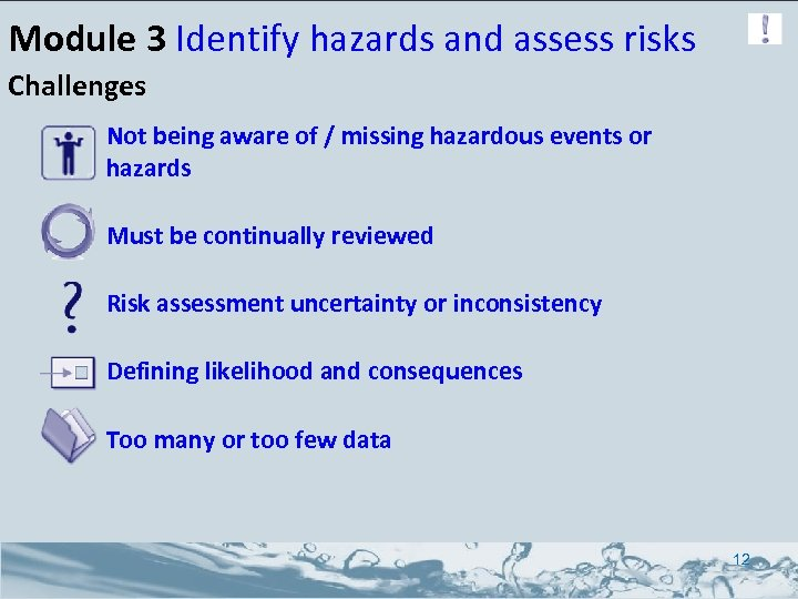 Module 3 Identify hazards and assess risks Challenges Not being aware of / missing