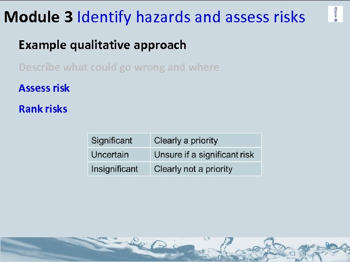 Module 3 Identify hazards and assess risks Example qualitative approach Describe what could go