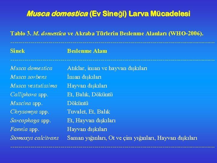 Musca domestica (Ev Sineği) Larva Mücadelesi Tablo 3. M. domestica ve Akraba Türlerin Beslenme