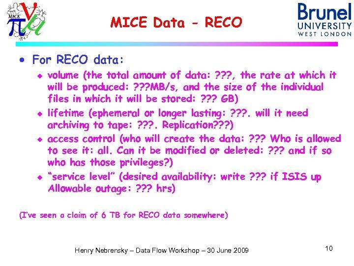 MICE Data - RECO · For RECO data: u u volume (the total amount