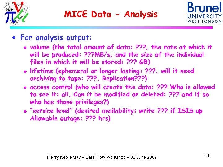 MICE Data - Analysis · For analysis output: u u volume (the total amount