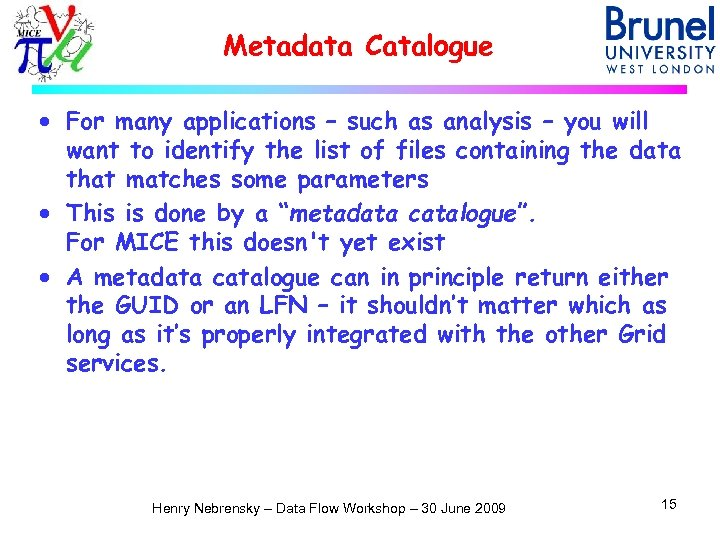 Metadata Catalogue · For many applications – such as analysis – you will want