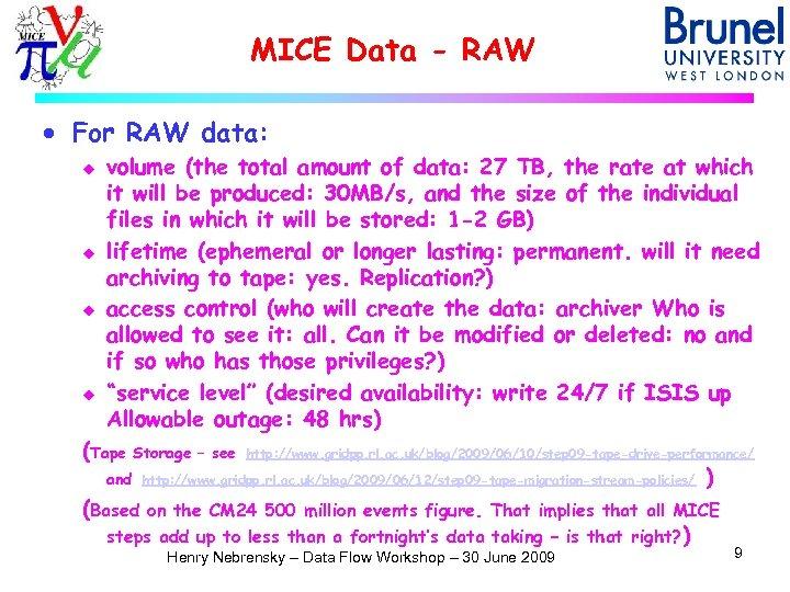 MICE Data - RAW · For RAW data: u u volume (the total amount