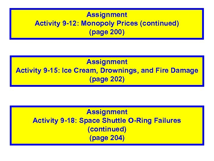 Assignment Activity 9 -12: Monopoly Prices (continued) (page 200) Assignment Activity 9 -15: Ice