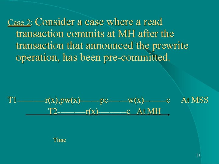 Case 2: Consider a case where a read transaction commits at MH after the