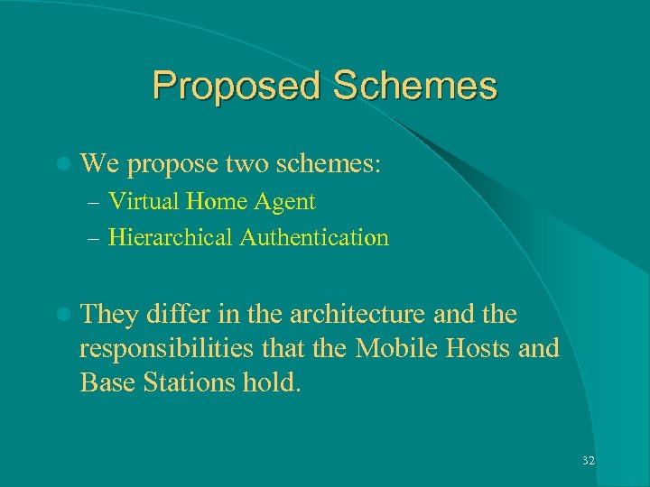 Proposed Schemes l We propose two schemes: – Virtual Home Agent – Hierarchical Authentication